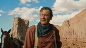 The art of staring into the middle distance, with John Wayne.