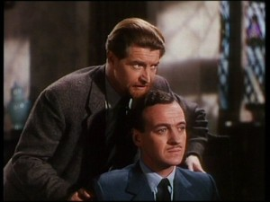 Sniffing David Niven's hair. It was all the rage in 1946.