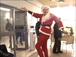 The Santa Claus look was all the rage in Paris.