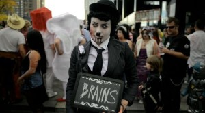 The Charlie Chaplin and zombie conferences had clearly double booked the venue.
