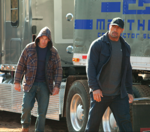 Walking in slow motion with hoods up and hats on = instant bad-ass.
