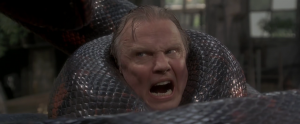 Voight's new snakeskin neck warmer was a little on the tight side.