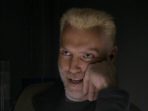 A bleached blonde Robin Sachs. Oh my.