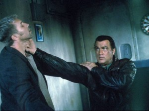 Seagal demonstrating how you caress another man's cheek.